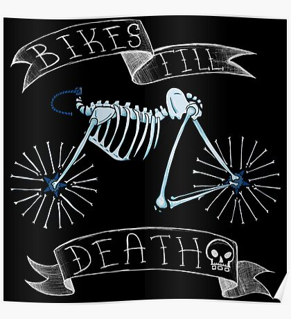 Bikes Till Death Skeleton Bike Poster