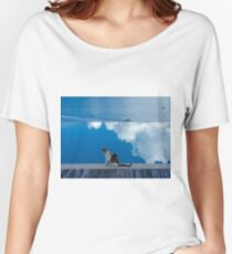 Cat on Blue in Antigua Women's Relaxed Fit T-Shirt