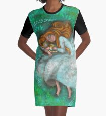 Sleeping with cat Graphic T-Shirt Dress