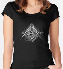 Freimaurer-alles sehende Augen-Kompass-Kleid Tailliertes Rundhals-Shirt