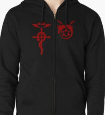 Fullmetal Alchemist Ouroboros + Flamel Red Zipped Hoodie