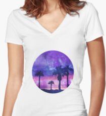 Mystic Tropical Beach Scenery Women's Fitted V-Neck T-Shirt