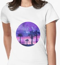 Mystic Tropical Beach Scenery Womens Fitted T-Shirt