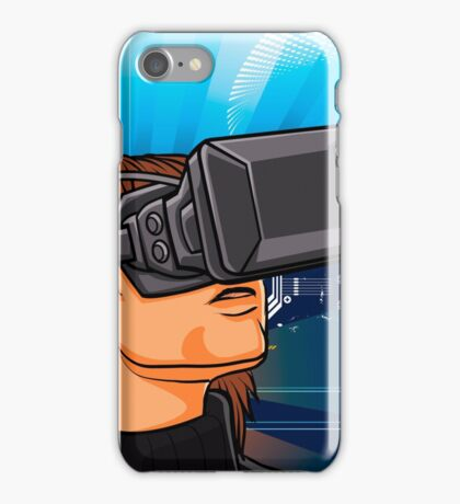 illustration of man  with headset glasses iPhone Case/Skin