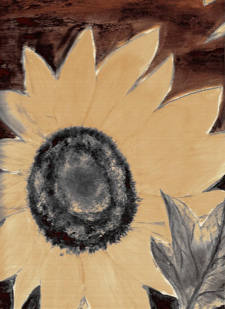 Oil Sunflower 1 Sepia Tone Poster Print by derekmccrea