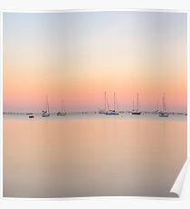 Sunrise Calm Water and Sailboats Poster