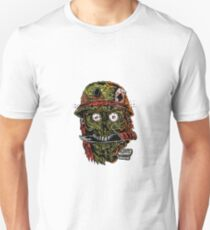 military zombie with knife in mouth. Unisex T-Shirt