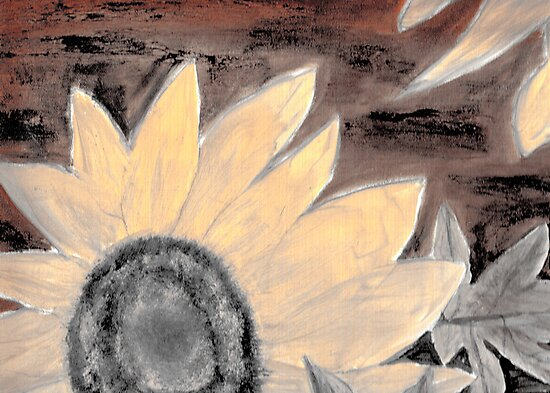 Oil Sunflower Sepia Painting poster print by derekmccrea