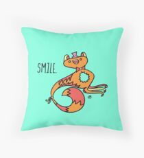 Smile Monster Illustration Throw Pillow