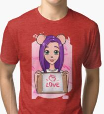 Girl Mouse declaration of love Tri-blend T-Shirt