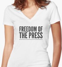 Freedom Of The Press Women's Fitted V-Neck T-Shirt