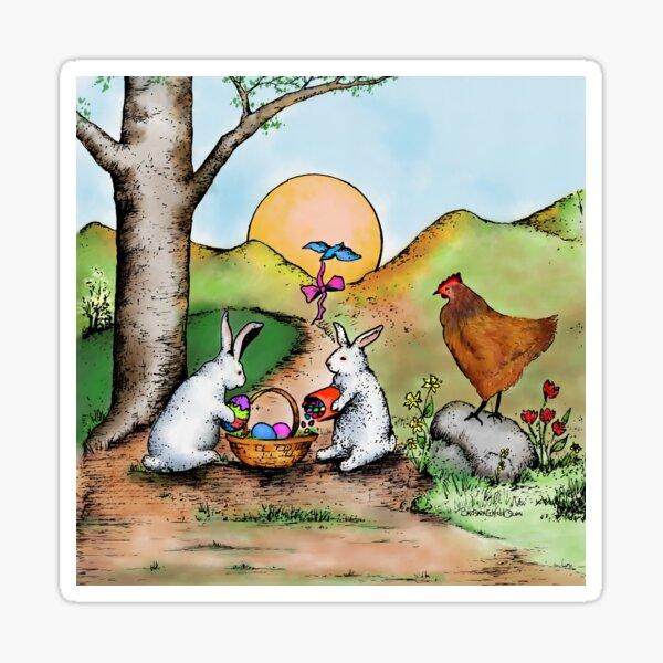 Easter Basket Vintage Illustration Sticker