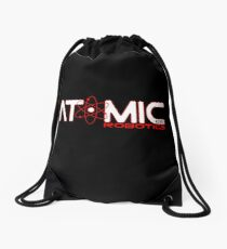 Atomic Robotics Logo White on Black Drawstring Bag