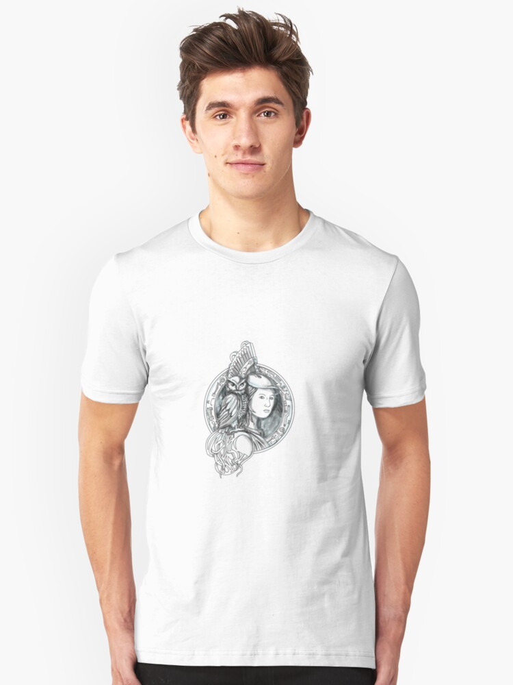 Athena With Owl On Shoulder Electronic Circuit Circle Tattoo T Shirt By Patrimonio