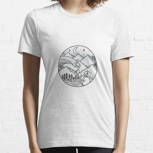Brontosaurus Astronaut Mountain Circle Tattoo Essential T-Shirt