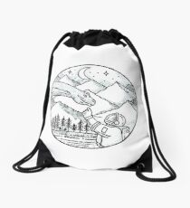 Brontosaurus Astronaut Mountain Circle Tattoo Drawstring Bag