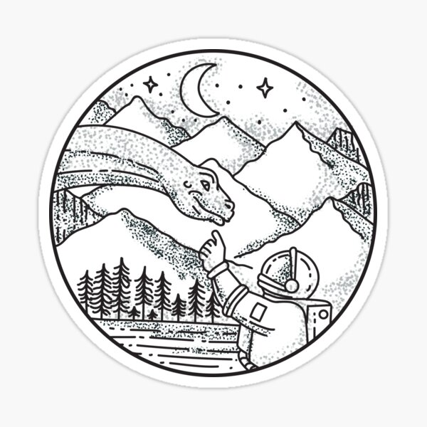 Brontosaurus Astronaut Mountain Circle Tattoo Sticker