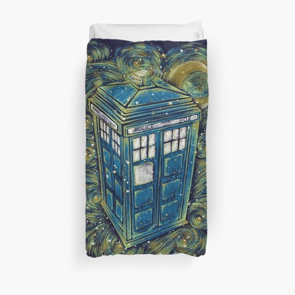 The Doctor in the starry night Duvet Cover