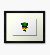 Smirking leprechaun emoji  Framed Print