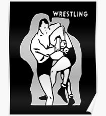 Black and White Vintage Wrestling Vector Graphic Poster