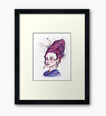 Swirly wig Girl  Framed Print