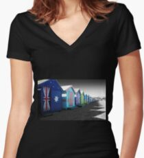 Bathing Boxes, Brighton Beach Women's Fitted V-Neck T-Shirt