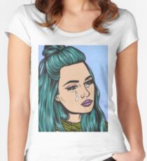 Teal Tears - Crying Comic Pop Art Girl Women's Fitted Scoop T-Shirt