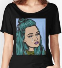 Teal Tears - Crying Comic Pop Art Girl Women's Relaxed Fit T-Shirt