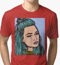 Teal Tears - Crying Comic Pop Art Girl Tri-blend T-Shirt