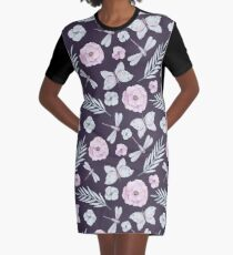 Watercolor Butterflies, Flowers and Dragonflies Graphic T-Shirt Dress