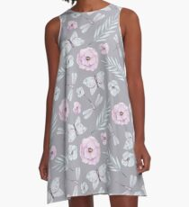Watercolor Butterflies, Flowers and Dragonflies A-Line Dress