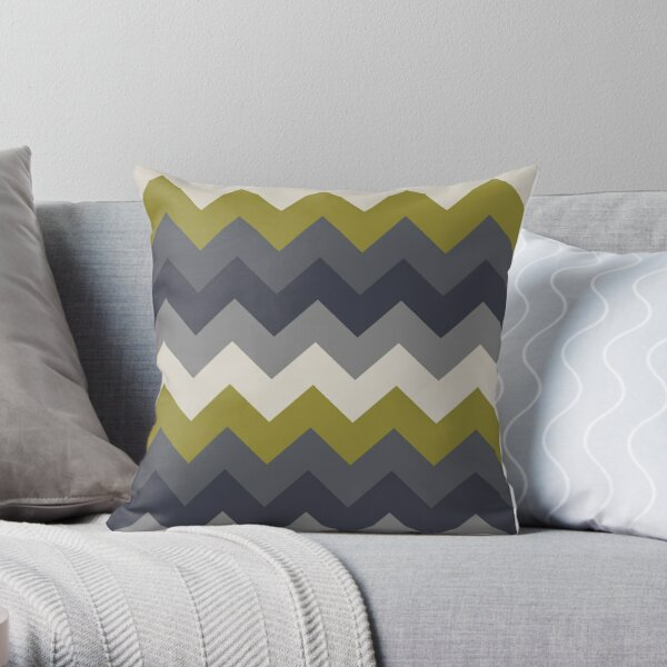 Zigzag Pattern Gray, Old Silver & Olive Green Throw Pillow