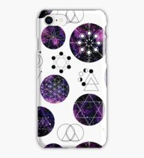 Watercolor Violet Galaxy and Sacred Geometry iPhone Case/Skin