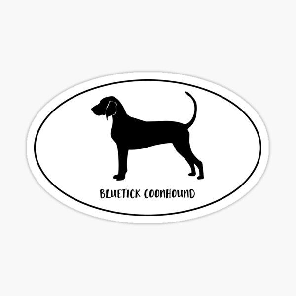 Bluetick Coonhound Dog Breed Classic Black Silhouette in Oval Sticker