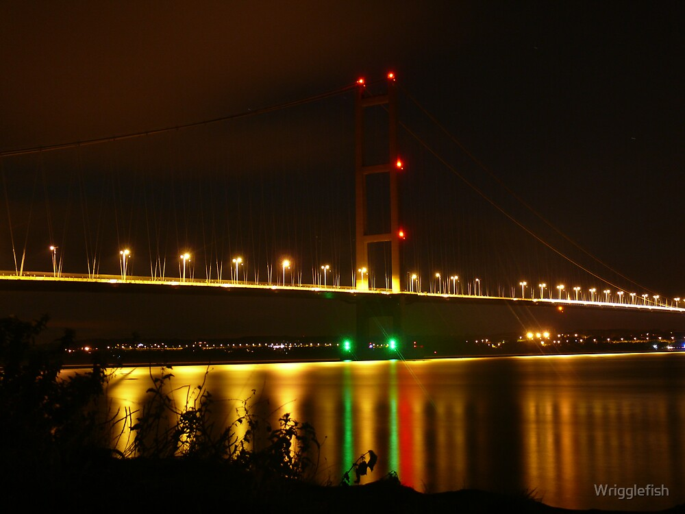 humber bridge from barton by night by Wrigglefish