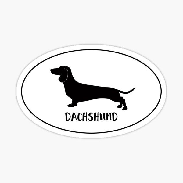 Dachshund Dog Breed Classic Black Silhouette in Oval Sticker
