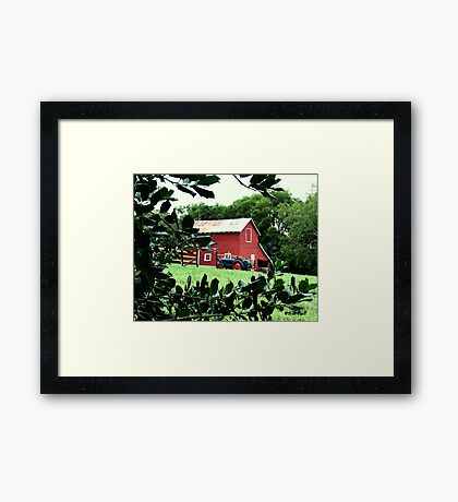"""""""Red Barn Through The Green Foliage""""... prints and products Framed Print"""