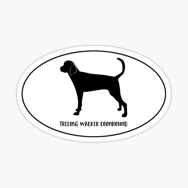 Treeing Walker Coonhound Dog Breed Classic Black Silhouette in Oval Sticker