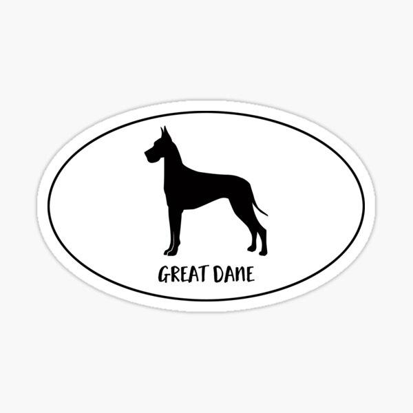 Great Dane Dog Breed Classic Black Silhouette in Oval Sticker