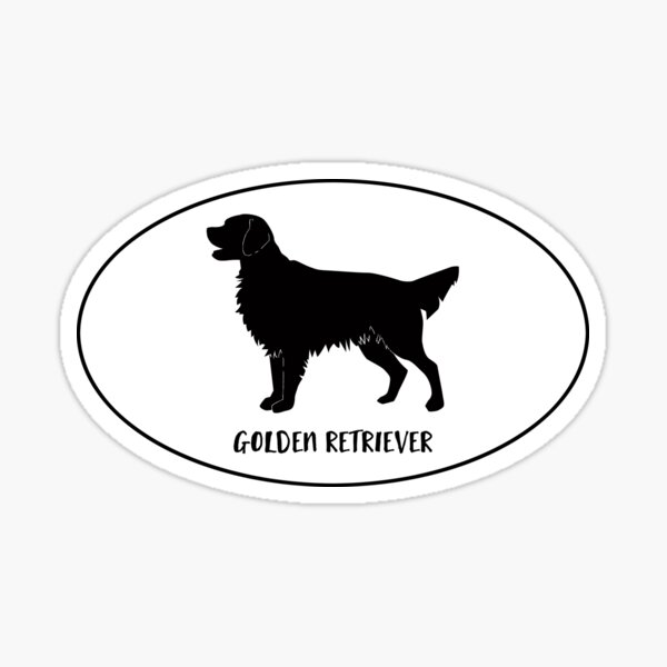 Golden Retriever Dog Breed Classic Black Silhouette in Oval Sticker