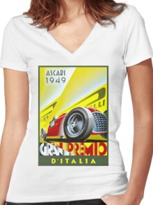 GRAN PREMIO ITALIA ; Vintage Auto Racing Print Women's Fitted V-Neck T-Shirt