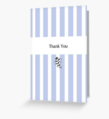 Blue Candy Stripes Thank You Greeting Card
