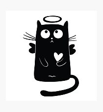 Cute Cartoon Kitten with Angel Wings Photographic Print