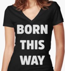 Born This Way Lady Gaga White Version Women's Fitted V-Neck T-Shirt