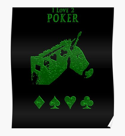 POKER DONKEY -GREEN Poster
