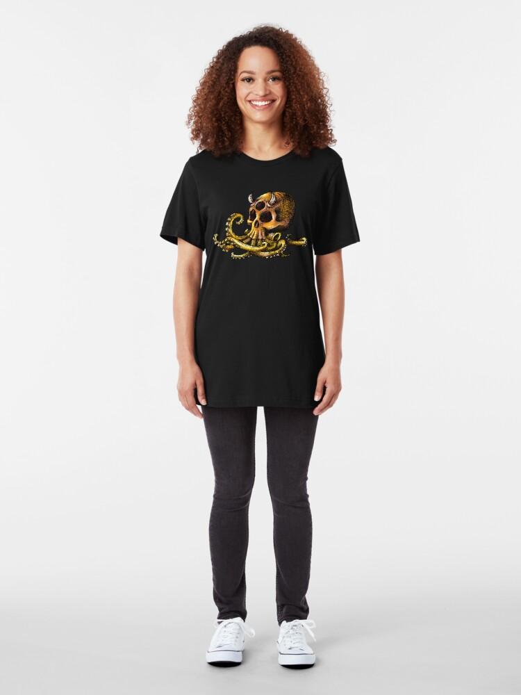 Alternate view of OctoSkull - Cthulhu Skull Octopus Illustration Slim Fit T-Shirt