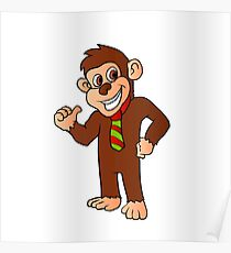 Monkey with tie Poster