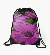 Purple And Pink Tropical Daisy Flower Drawstring Bag