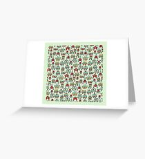A pattern of robots and aliens. Greeting Card