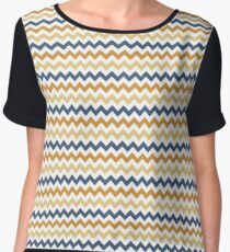 Simple Zigzag Chevrons in Yellow and Blue Women's Chiffon Top